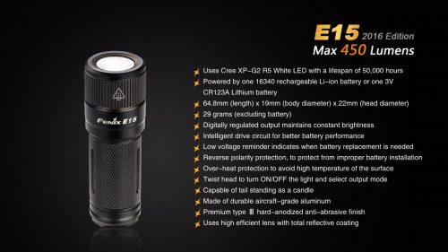 E15 2016 компактный фонарь-брелок