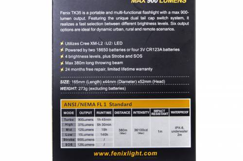 Fenix TK35 900lm тактический яркий фонарь