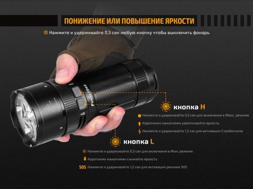 Fenix FD65 — это инновационный, надёжный фонарь из высококачественного материала. Главная его особенность в том, что у него есть возможность регулировать фокус луча.