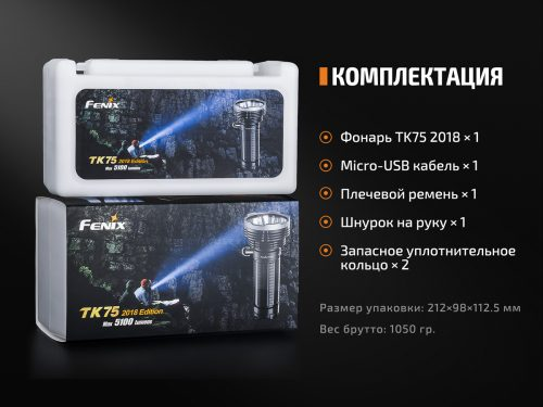 Мощный поисковый фонарь Fenix-TK75-2018