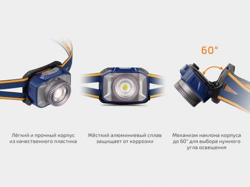 экономичный налобный аккумуляторный фонарь с регулируемым фокусом